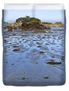 Pink Granite Island In Low Tide Duvet Cover