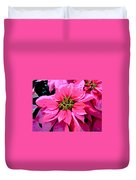 Pink Holiday Poinsettias Duvet Cover