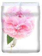 Pink Peony In Glass Vase Duvet Cover
