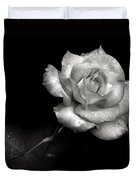 Pink Rose In Black And White Duvet Cover
