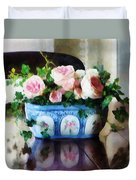 Pink Roses And Ivy Duvet Cover