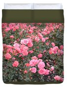 Pink Roses Canvas Duvet Cover