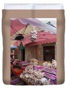 Pink Umbrella And Garlic Duvet Cover