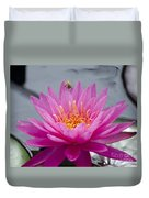 Pink Water Lily Rose Arey With Bee Duvet Cover