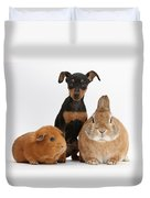 Pinscher Puppy With Rabbit And Guinea Duvet Cover