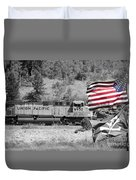 Pirates And Trains Black And White Duvet Cover