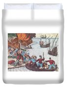 Pirates Burn Havana, 1555 Duvet Cover by Photo Researchers