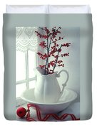 Pitcher With Red Berries  Duvet Cover