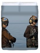 Plane Captains Stand By During Aircraft Duvet Cover