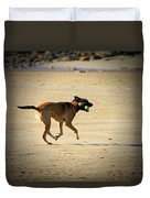 Playing Ball On The Beach  Duvet Cover