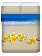 Plumerias On Beach II Duvet Cover