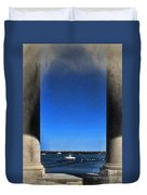 Plymouyh Harbor And Columns Duvet Cover