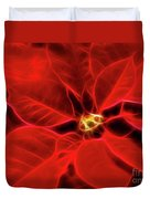 Poinsettia Red Christmas Flower Abstract Artwork Duvet Cover