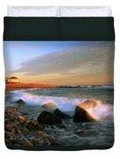 Point Judith Lighthouse Seascape Duvet Cover