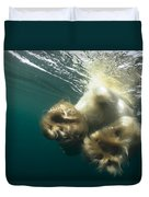 Polar Bear Swiming Away Wager Bay Canada Duvet Cover