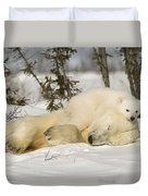 Polar Bear With Cub In Snow Duvet Cover
