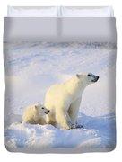 Polar Bear With Cub Duvet Cover