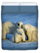 Polar Bear With Cubs Duvet Cover