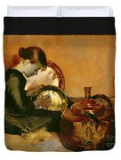 Polishing Pans  Duvet Cover by Marianne Stokes