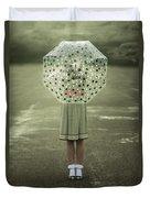Polka Dotted Umbrella Duvet Cover