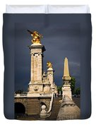 Pont Alexander IIi In Paris Before Storm Duvet Cover by Elena Elisseeva