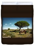 Pony Pasturing Duvet Cover by Carlos Caetano