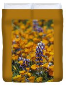 Poppies And Lupine Flowers In A Santa Duvet Cover
