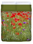 Poppies And Purple Flowers Duvet Cover