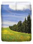 Poppies And Wild Flowers In Wheat Field Duvet Cover