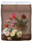 Poppies In A Crystal Vase - Or Basket Of Roses Duvet Cover