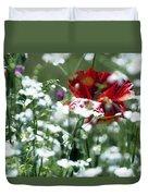 Poppy And White Flowers Duvet Cover