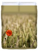 Poppy Flower In Field Of Wheat Duvet Cover