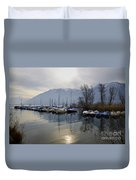 Port With Snow-capped Mountain Duvet Cover