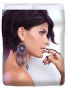 Portrait Of A Woman Wearing Jewellery Duvet Cover