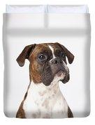 Portrait Of Boxer Dog On White Duvet Cover
