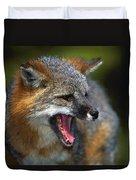 Portrait Of Gray Fox Barking Duvet Cover