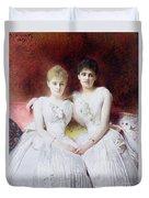 Portrait Of Marthe And Terese Galoppe Duvet Cover by Leon Joseph Bonnat