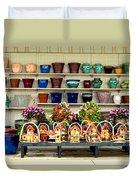 Pots And Birdhouses Duvet Cover