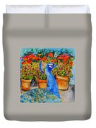 Potted Peacock Duvet Cover