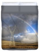 Powerlines, Rainbow Forms As Evening Duvet Cover