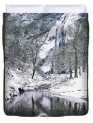 Powerscourt Waterfall In Winter, County Duvet Cover
