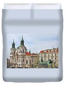 Prague - St Nicholas Church Old Town Square Duvet Cover