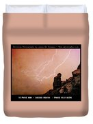 Praying Monk Camelback Mountain Lightning Monsoon Storm Image Tx Duvet Cover by James BO  Insogna