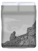 Praying Monk With Halo Camelback Mountain Bw Duvet Cover
