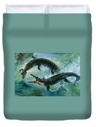 Pre-historic Crocodiles Eating A Fish Duvet Cover