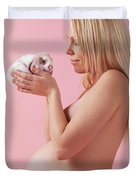 Pregant Young Woman Holding A Bunny In Her Hands Duvet Cover