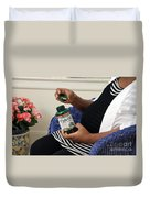 Pregnant Woman Taking Fish Oil Duvet Cover