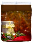 Present Sock Shape Short Bread Cookie In Christmas Tree Duvet Cover