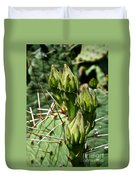 Prickly Pear Cactus Buds Duvet Cover