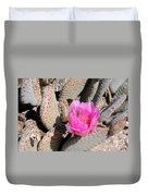 Prickly Pear Cactus Fertilized By Honey Bee Duvet Cover
